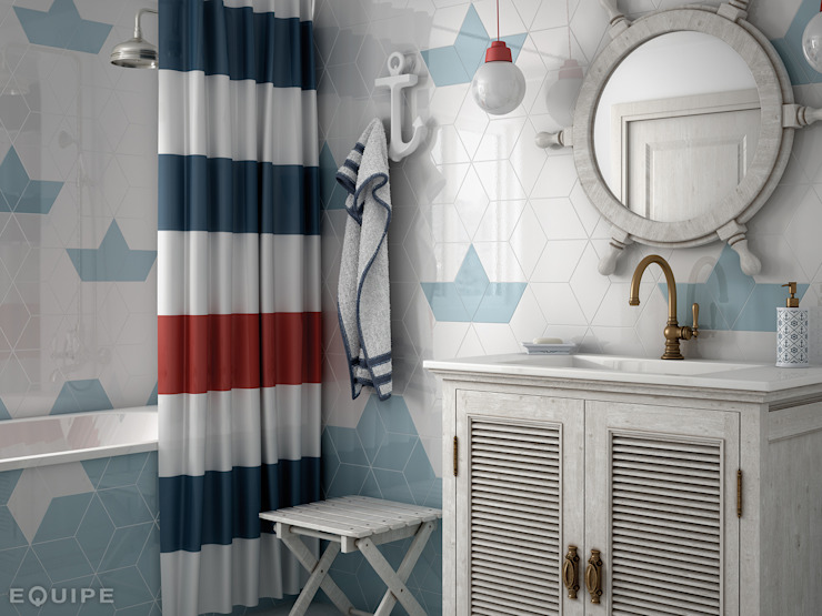 Rhombus WALL White, Ash Blue 15,2x26,3 Baños de estilo mediterráneo de Equipe Ceramicas Mediterráneo Cerámico