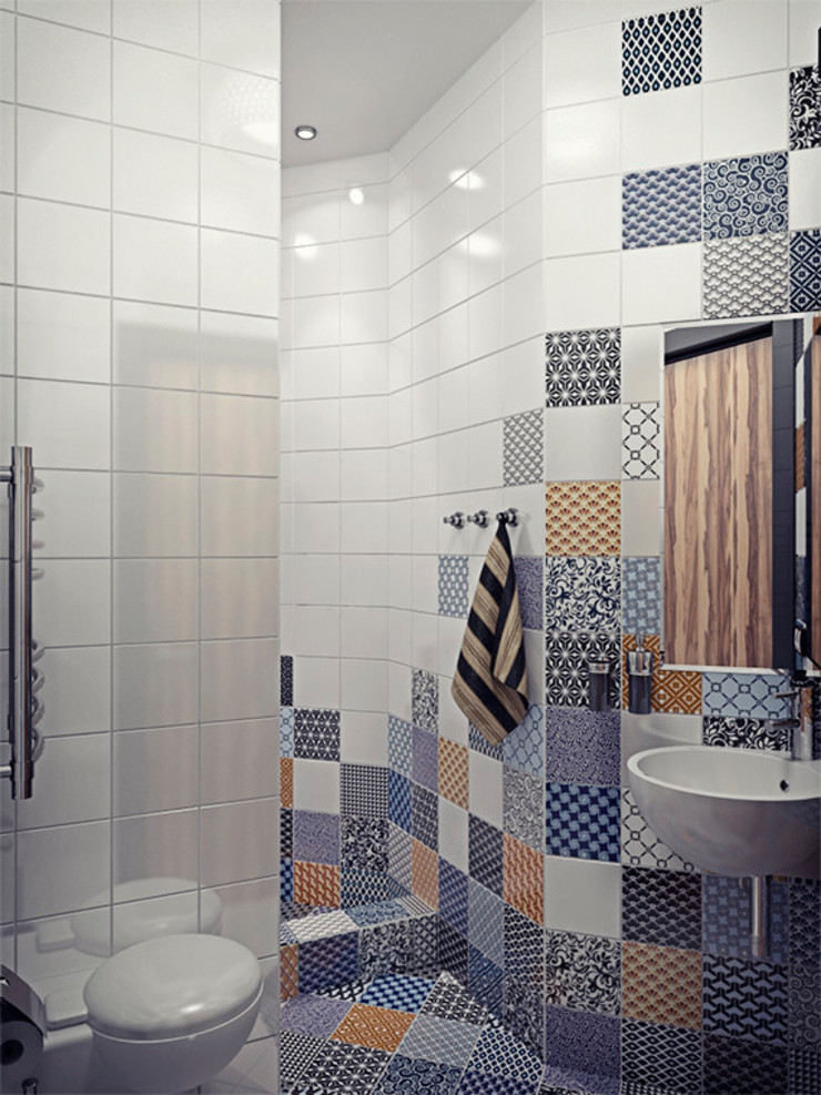 Alena Gorskaya Design Studio Modern style bathrooms White