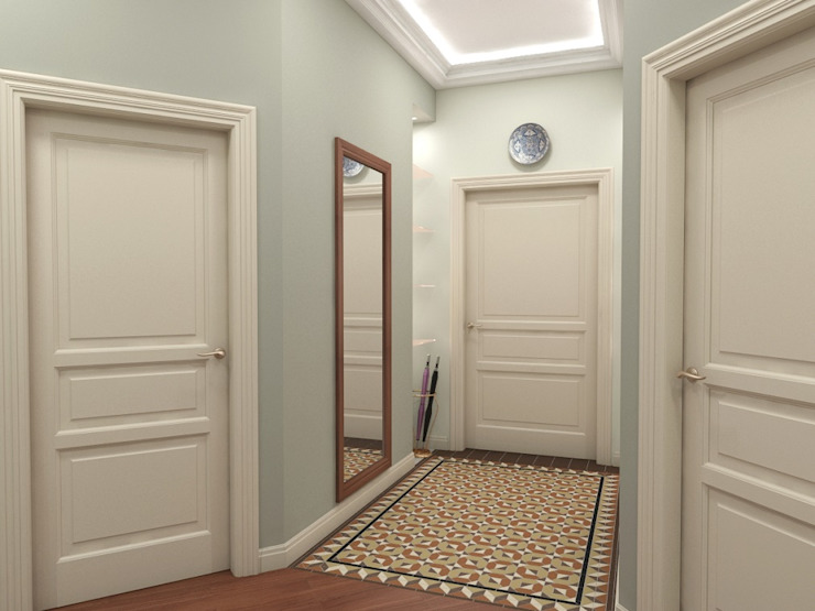 Alena Gorskaya Design Studio Flur, Diele & Treppenhaus im Landhausstil Blau