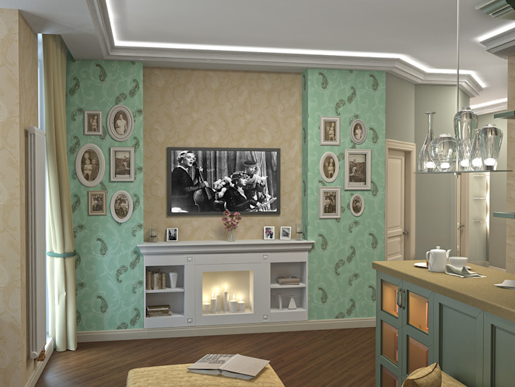 Alena Gorskaya Design Studio Living room Green