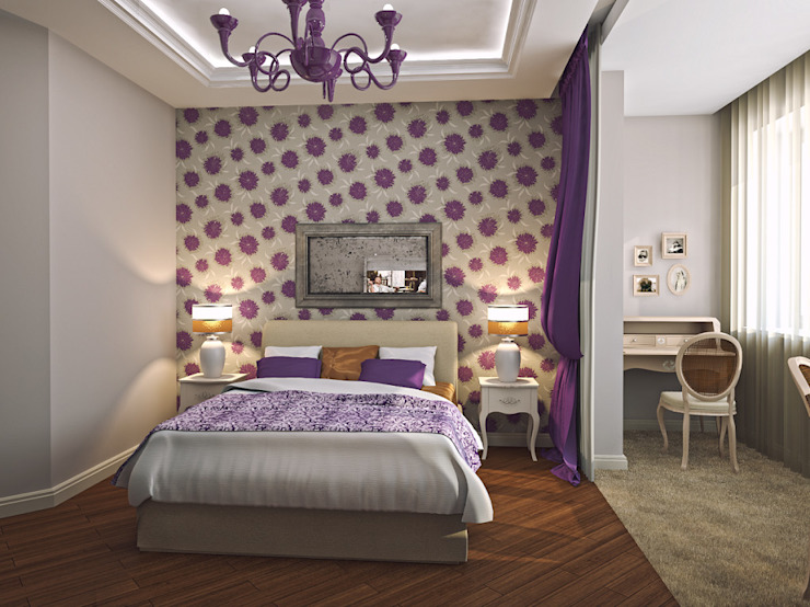Alena Gorskaya Design Studio Country style bedroom Purple/Violet