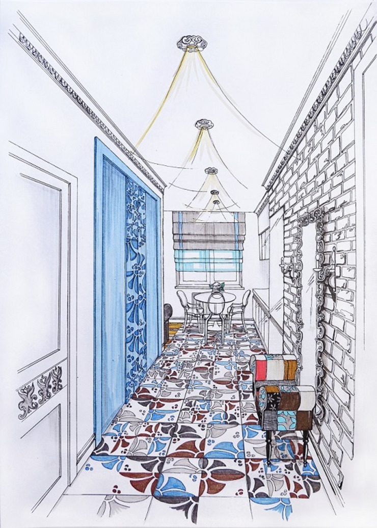 Modern Corridor, Hallway and Staircase by Alena Gorskaya Design Studio Modern
