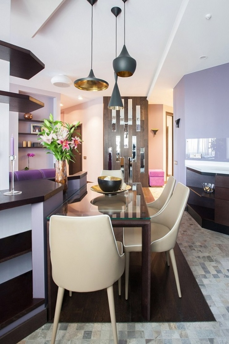 Alena Gorskaya Design Studio Minimalistische Esszimmer Lila/Violett