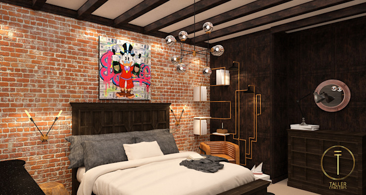 Industrial style bedroom by Taller 03 Industrial Copper/Bronze/Brass