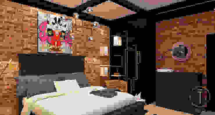 Taller 03が手掛けた寝室, インダストリアル 銅/ブロンズ/真鍮