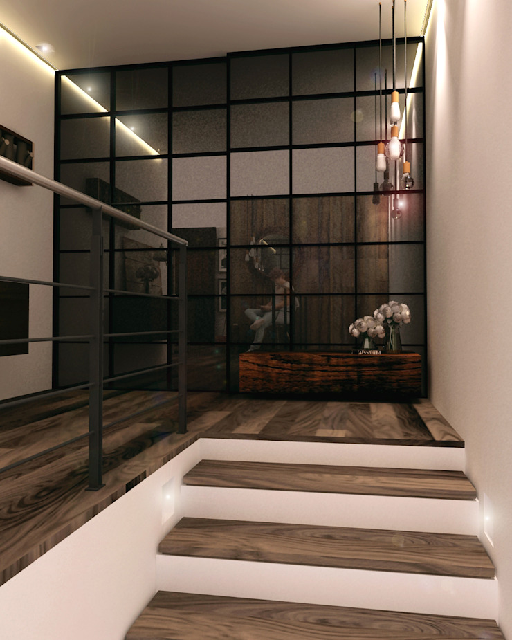 Industrial style corridor, hallway and stairs by Taller 03 Industrial Wood Wood effect