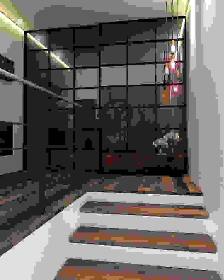 industrial style corridor, hallway & stairs by Taller 03 Industrial Wood Wood effect