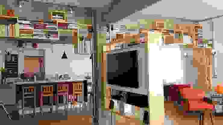 sala de tv Salas de estar modernas por omnibus arquitetura Moderno Madeira Acabamento em madeira