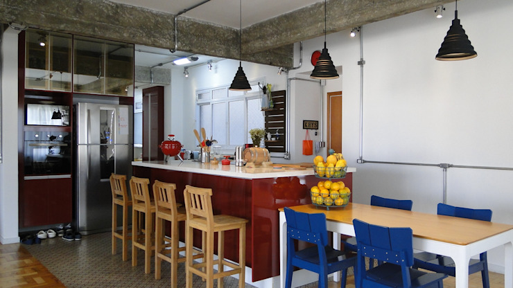 mesa e ilha Cozinhas modernas por omnibus arquitetura Moderno MDF
