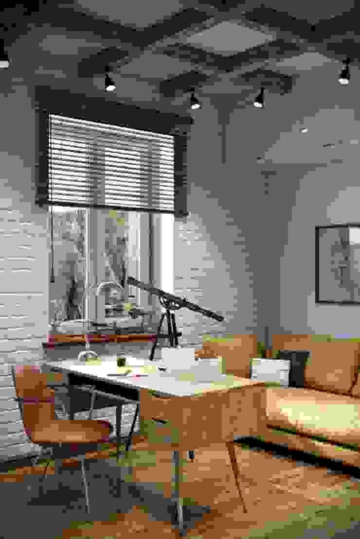 Ruang Studi/Kantor Gaya Industrial Oleh Дизайн студия Алёны Чекалиной Industrial