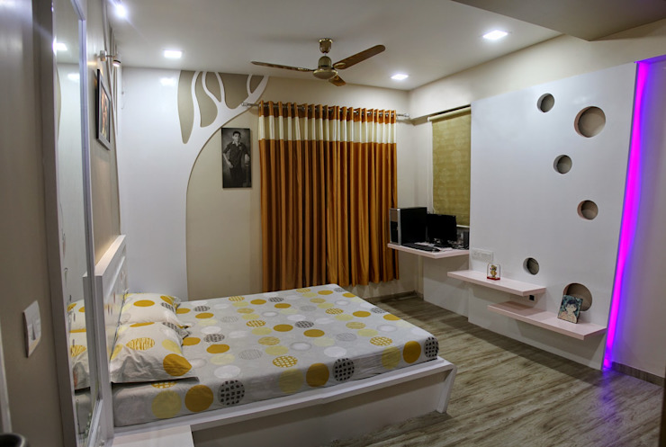 3BHK—Interior 9th Floor Flat @Bharuch Modern style bedroom by SkyGreen Interior Modern