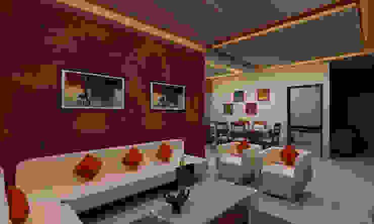 3BHK Interior Flat @Pune Modern living room by SkyGreen Interior Modern