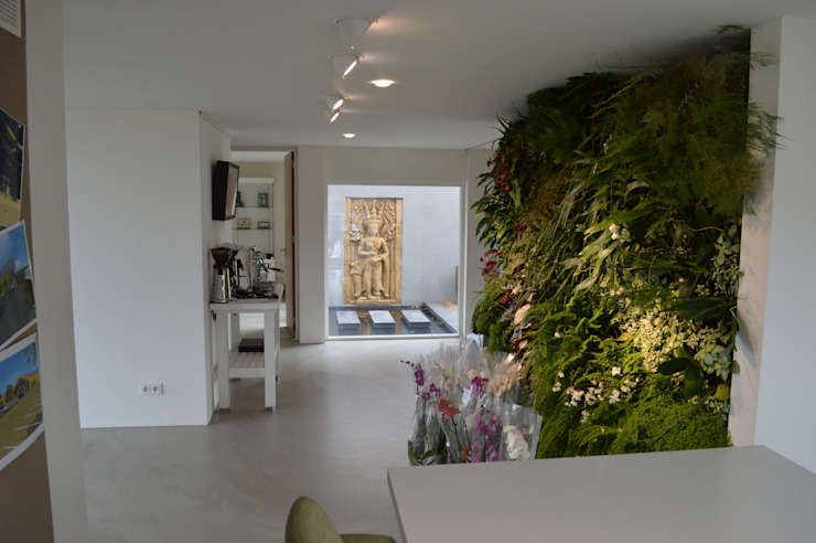 STROOM architecten Modern Corridor, Hallway and Staircase Natural Fibre Green