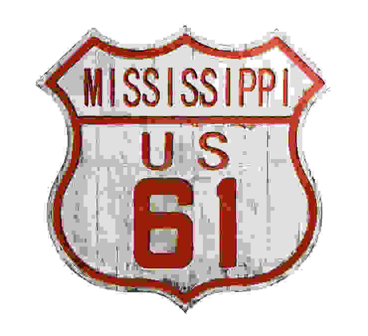 Дорожный знак декоративный Mississippi 61 V771 от LeHome Interiors Лофт Дерево Эффект древесины