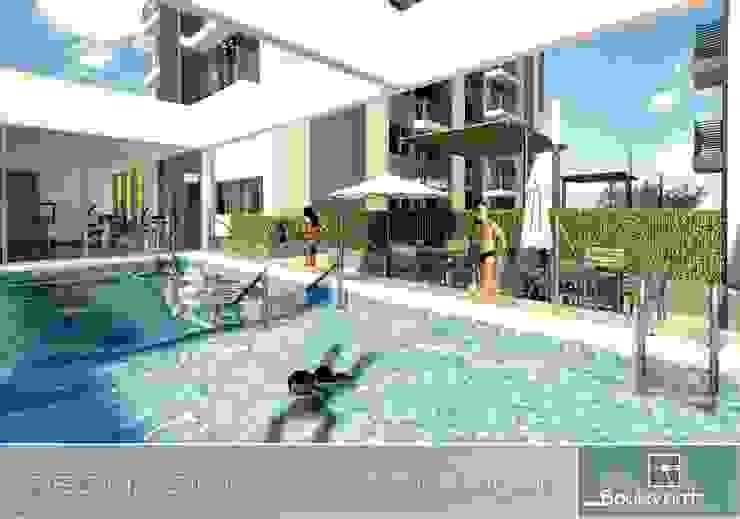 zona social, piscinas de adulto y niños. Gimnacio. Piscinas de estilo moderno de Oleb Arquitectura & Interiorismo Moderno