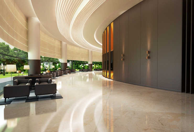 Interiores do 'Mezzanine Floor', African Union Grand Hotel, Adis Abeba, Etiópia Hotéis modernos por ASVS Arquitectos Associados Moderno