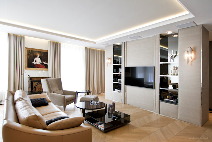 Projekt Apartamentu Klasyczny salon od Katarzyna Kraszewska Architektura Wnętrz Klasyczny