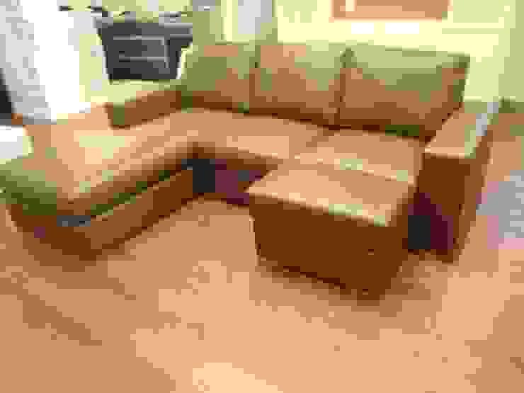 Nancy Couch Set Leather: (株)工房スタンリーズが手掛けた現代のです。,モダン 革 灰色