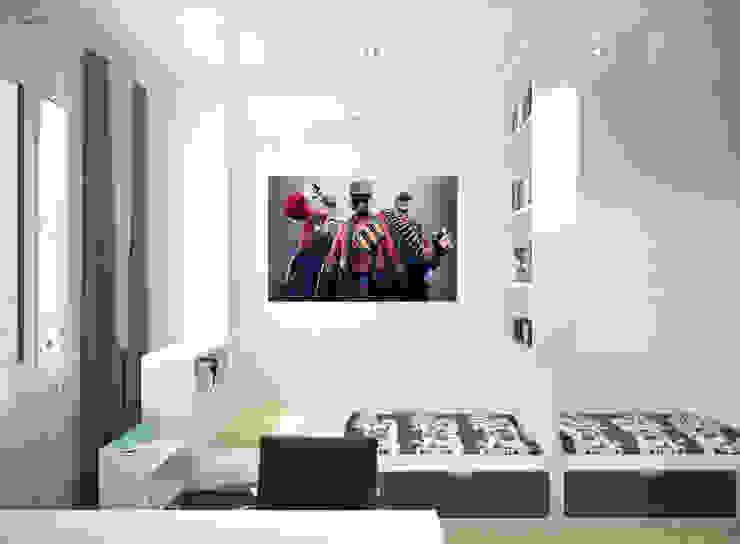 """Дизайн детской в современном стиле в ЖК """"Солнечный"""" Детская комната в стиле модерн от Студия интерьерного дизайна happy.design Модерн"""