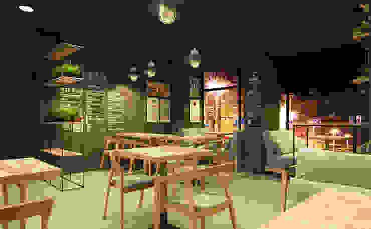 CAFE OKNA Бары и клубы в стиле минимализм от Zikzak architects Минимализм Дерево Эффект древесины