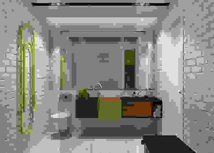 Проект апартаментов для молодой пары с ребенком Mebius Group Ванная комната в скандинавском стиле
