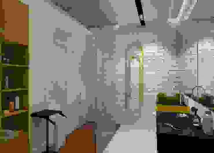 Проект апартаментов для молодой пары с ребенком Ванная комната в скандинавском стиле от Mebius Group Скандинавский