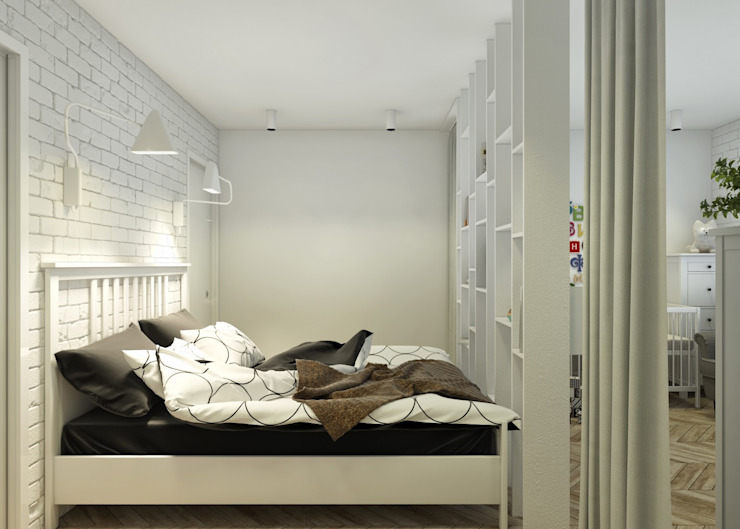 Проект апартаментов для молодой пары с ребенком Спальня в скандинавском стиле от Mebius Group Скандинавский