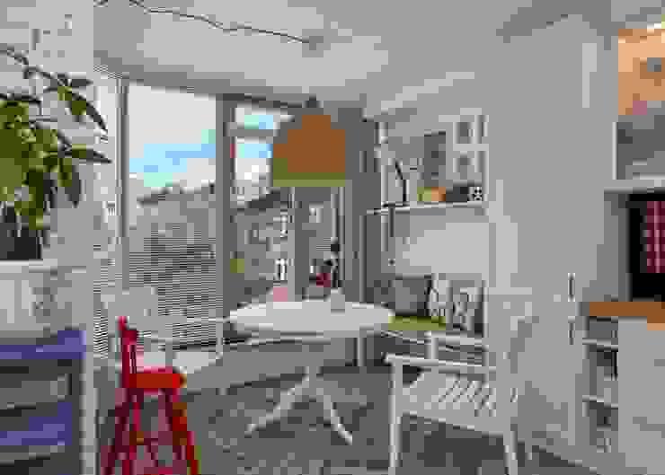 Проект апартаментов для молодой пары с ребенком Кухня в скандинавском стиле от Mebius Group Скандинавский
