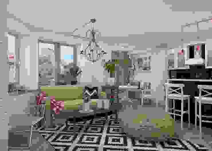 Проект апартаментов для молодой пары с ребенком Гостиная в скандинавском стиле от Mebius Group Скандинавский