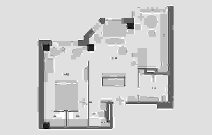 Проект апартаментов для молодой пары с ребенком от Mebius Group Скандинавский