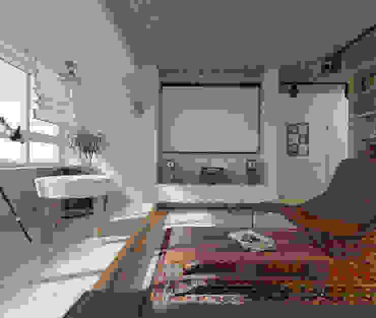 Проект квартиры в стиле эклектичного минимализма Гостиные в эклектичном стиле от Mebius Group Эклектичный