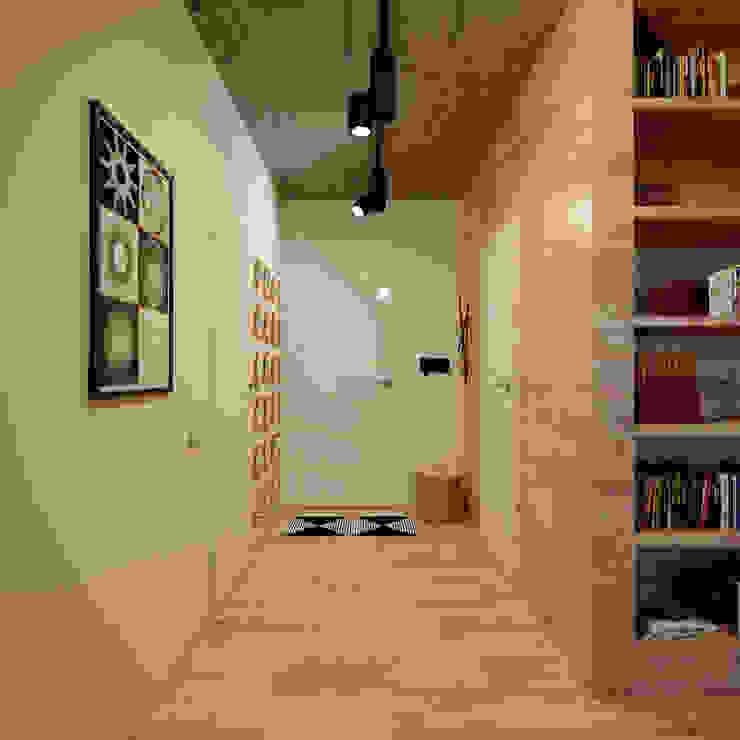 Проект квартиры в стиле эклектичного минимализма Коридор, прихожая и лестница в эклектичном стиле от Mebius Group Эклектичный