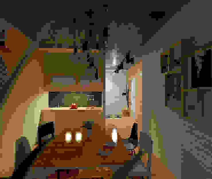 Проект квартиры в стиле эклектичного минимализма Кухни в эклектичном стиле от Mebius Group Эклектичный