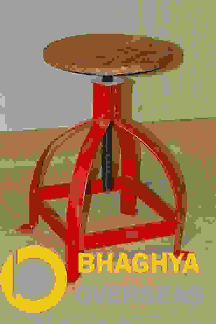 INDUSTRIAL IRON & WOOD STOOL: industrial  by BHAGHYA OVERSEAS,Industrial Metal