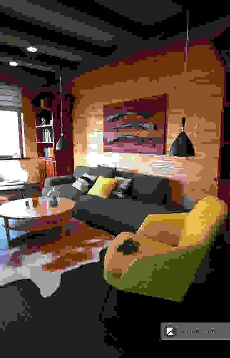 Загородный дом в Приозерске Гостиная в стиле модерн от Kitole Модерн