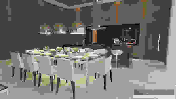 Horta e Vello Arquitetura e Interiores Sala da pranzo moderna Legno Effetto legno