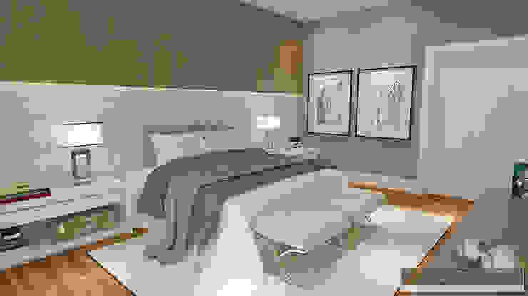 Horta e Vello Arquitetura e Interiores Camera da letto moderna Legno Beige