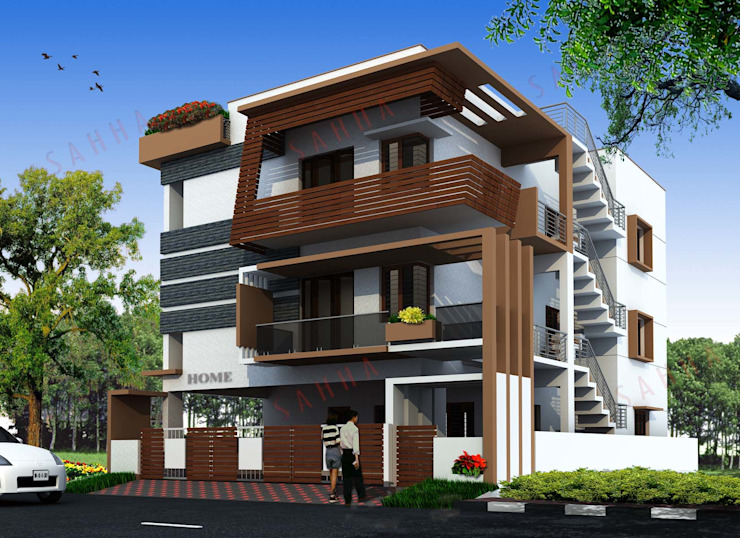 Swamy's residence at RR nagar Asian style houses by SAHHA architecture & interiors Asian