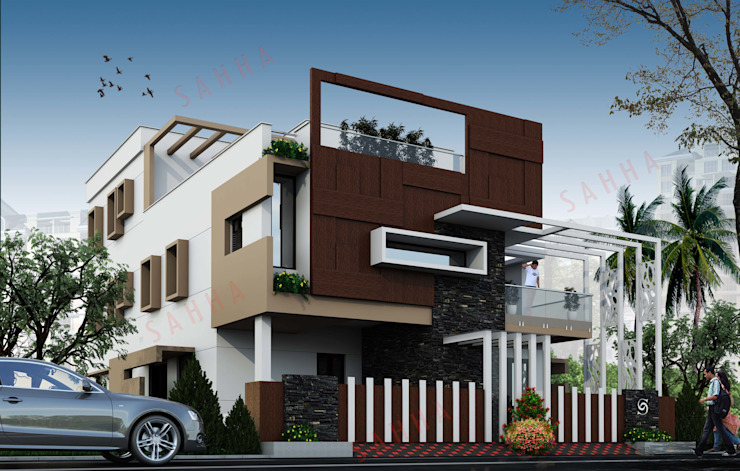 Subramanyam's residence at Nandyal Asian style houses by SAHHA architecture & interiors Asian