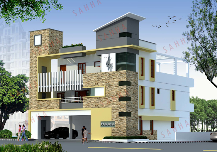 Pasupuleti's villa at AP Asian style houses by SAHHA architecture & interiors Asian