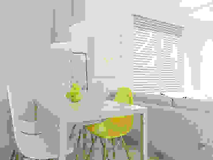 Jasny salon w dużej płycie Nowoczesna jadalnia od FOORMA Pracownia Architektury Wnętrz Nowoczesny