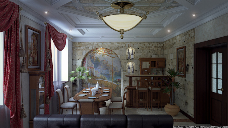 Зал средиземноморский стиль Гостиная в классическом стиле от Architoria 3D Классический Известняк