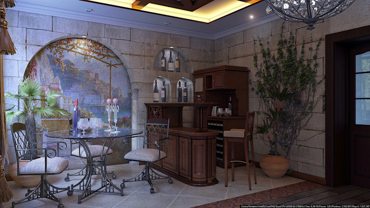 Зал средиземноморский стиль Медиа комната в колониальном стиле от Architoria 3D Колониальный Известняк