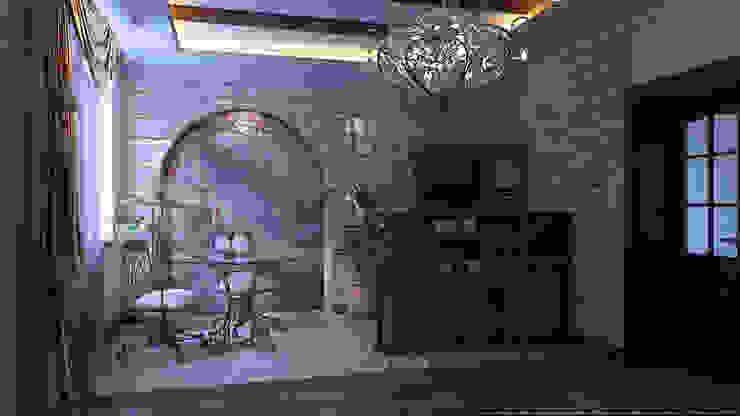 Зал средиземноморский стиль Столовая комната в колониальном стиле от Architoria 3D Колониальный Известняк