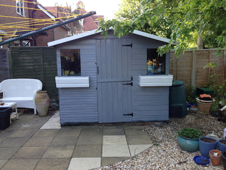 Newly painted garden shed Cornus Garden Design Modern Garage and Shed Wood Grey