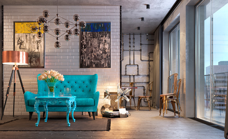 Eclectic style living room by Дмитрий Каючкин Eclectic