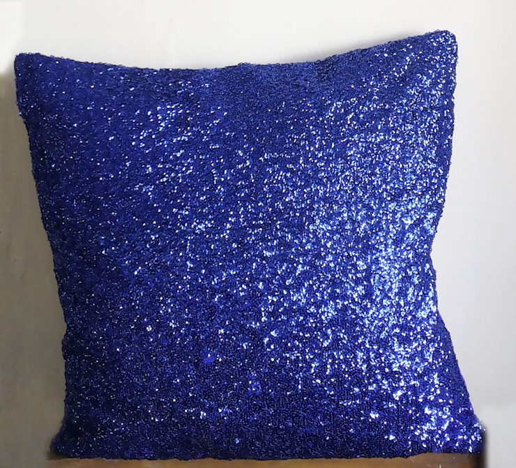 16x16 inches Royal Blue Sequins Decorative Throw Pillows : classic  by KnotnStitch,Classic Textile Amber/Gold
