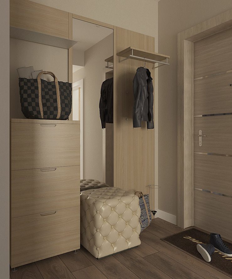 Деликатный латте_прихожая в современном стиле Коридор, прихожая и лестница в стиле минимализм от CO:interior Минимализм