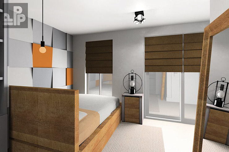 Wizualizacja. Panele Cube w Sypialni. od FLUFFO fabryka miękkich ścian Nowoczesny