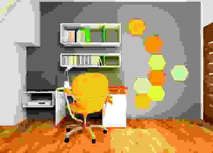 Wizualizacja. Mieszkanie prywatne. Panele Hexa. od FLUFFO fabryka miękkich ścian